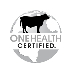 grayscale beef One Health Certified logo