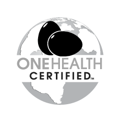 grayscale eggs One Health Certified logo