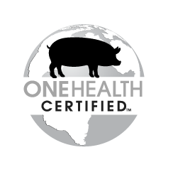 grayscale pork One Health Certified logo